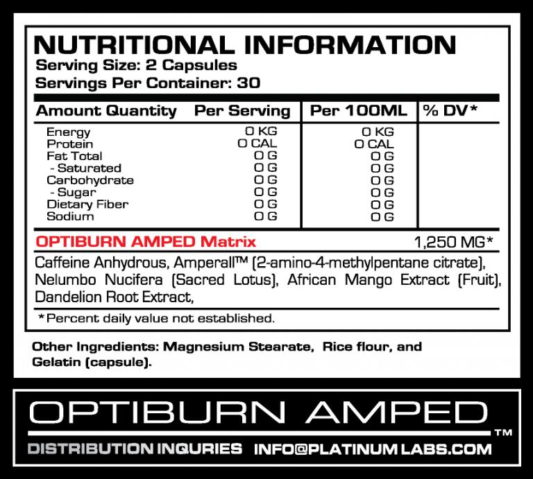 Состав Opti Burn Amped Platinum Labs