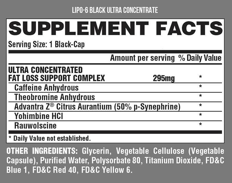 Смотреть состав на коробке LIPO 6 Black Ultra Concentrate Nutrex