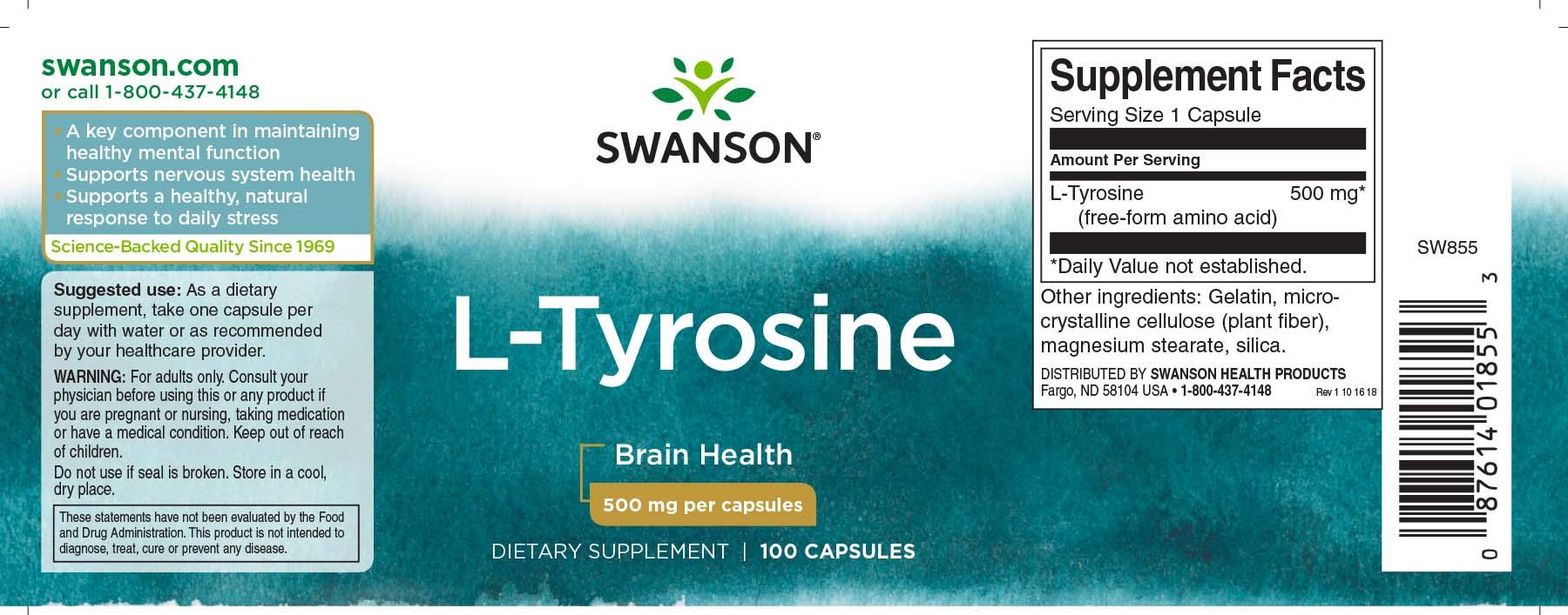 Купить L-Tyrosine Swanson 100 капс