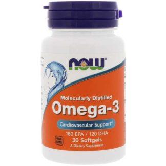 Omega-3 NOW 30 капсул 1000 мг для укрепления сердца и усиления жиросжигания цена