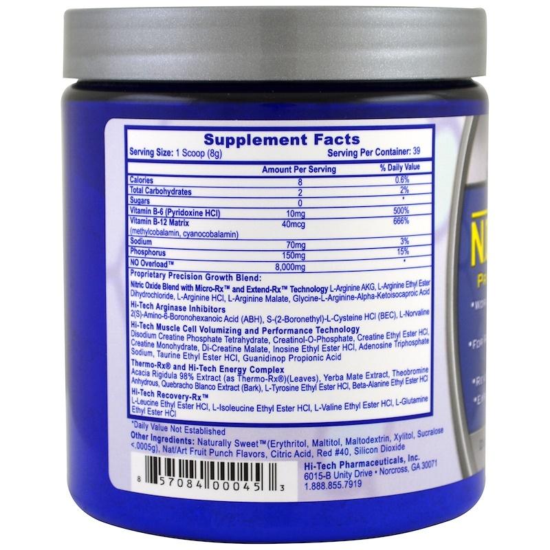 Читать состав N.O. Overload Hi-Tech Pharmaceuticals вкус «Пунш» 310 г, 39 порций