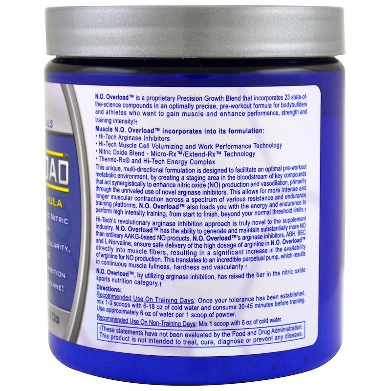 Смотреть инструкцию на упаковке N.O. Overload Hi-Tech Pharmaceuticals вкус «Пунш» 310 г, 39 порций