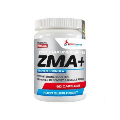 Смотреть на фото упаковку товара ZMA+ Westpharm 90 капсул по 500 мг